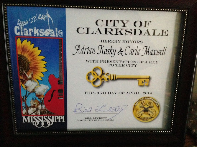 Awarded Key to the City of Clarksdale, Mississippi, by Mayor Bill Luckett!