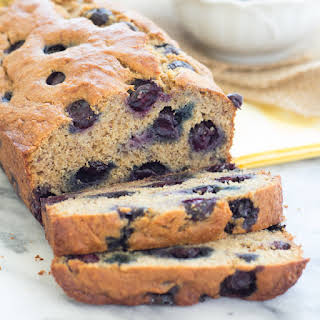 Our Favorite Healthy Blueberry Banana Bread {Whole Wheat, Refined Sugar Free}.