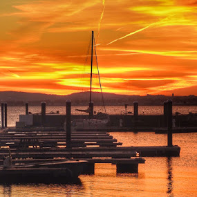 Sunset at the pier  by Ann Goldman - Novices Only Landscapes ( sunset sundown hull red sky,  )