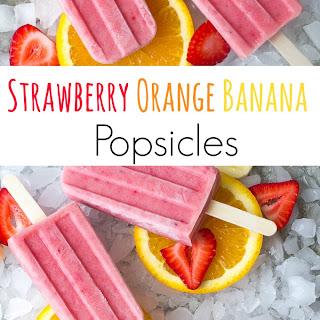 Strawberry Orange Banana Popsicles.