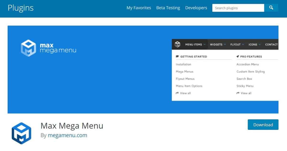 Tela de download do add-on Max Mega Menu