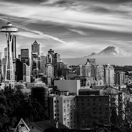 Seattle, WA by Kelly Clark - City,  Street & Park  Skylines ( urban, space needle, skyline, black and white, seattle, mt. rainier, kerry park )