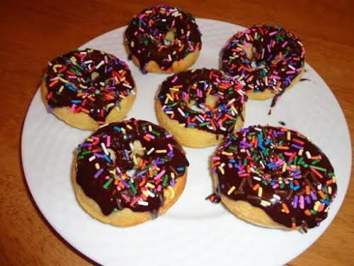 "Baked Cake Donuts with Chocolate Glaze ""My kids (ages 3 and 4)..."