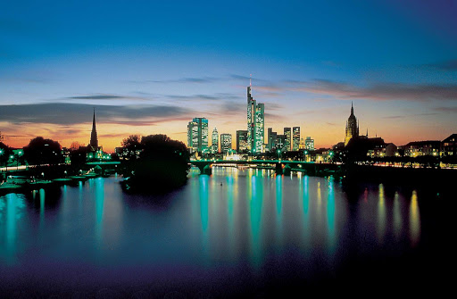 Viking-Frankfurt-night - At night, the skyline of Frankfurt, Germany, is a beautiful blend of old and new.
