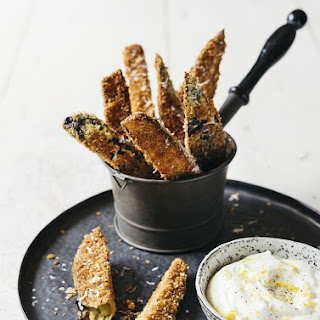 Crispy Eggplant Chips with Garlic Mayo