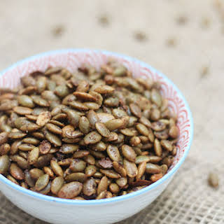 Sweet and Spicy Roasted Pumpkin Seeds.