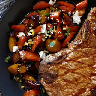 Pork Chops With Maple-Glazed Carrots.