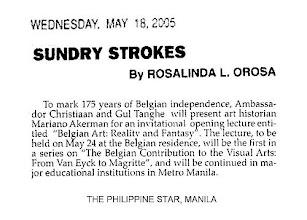 """Photo: Rosalinda Orosa, """"Sundry Strokes,"""" THE PHILIPPINE STAR, Manila, 18 May 2005  http://akermariano.blogspot.com/2010/11/art-lectures.html ; http://akermariano.blogspot.com/2012/03/be-175.html ; http://akermariano.blogspot.com/2012/12/mariano-akerman.html"""