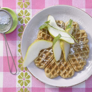 Chestnut Waffles with Pears.