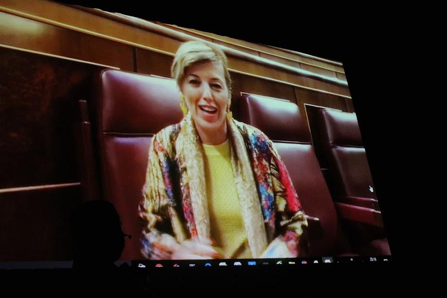 La diputada nacional Sonia Ferrer, en el vídeo emitido en el acto.