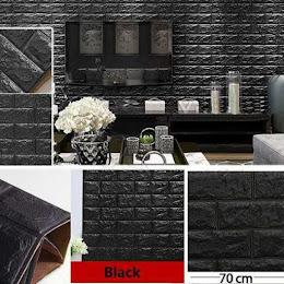 Tapet negru caramida, autoadeziv, 77 x 70 cm, spuma moale 3D