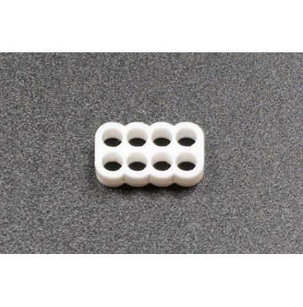 Kabelkam for 8 pins kabel, 2x4 Ø4mm hull, hvit