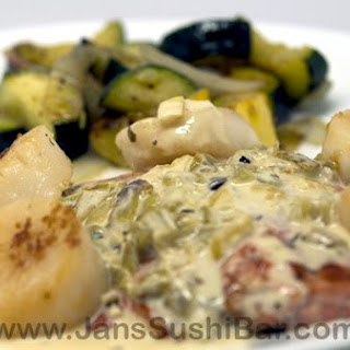 Salmon and Scallops With Green Chile Sauce.