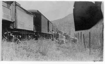Photo: Starting to load baggage onto the relief train - continuing the trip to Placerville, CO.    Mercer-Kirkham-Turner Collection