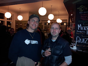 Photo: Spike and Rob enjoy a pint after a long day of collaborative brewing at Thornbridge.