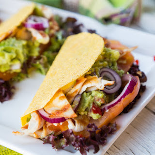 Skinny Tacos with Guacamole and Grilled Chicken.