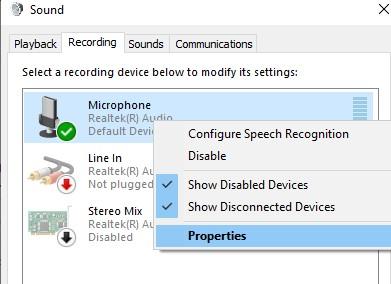 headset microphone Properties