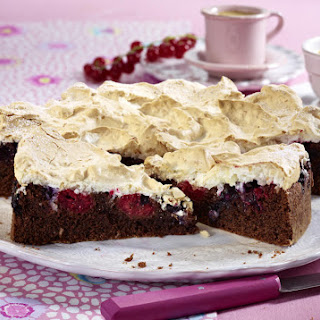Chocolate Berry Cake with Coconut Meringue