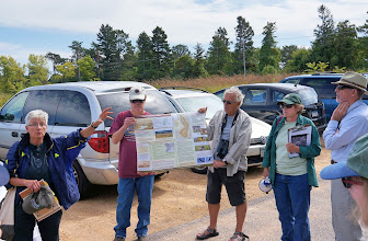 Photo: We gather for an explanation of the Oheyawahi/Pilot Knob Preservation area and how it was created. The oak savannah habitat is currently being restored by the Pilot Knob Preservation Society, who were our hosts.