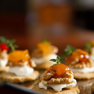 Blue Cheese-Walnut Shortbread with Cream Cheese and Chutney.