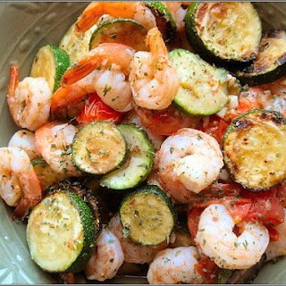 Shrimp with Zucchini and Tomatoes.