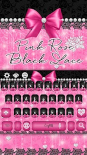 Pink Rose Black Lace Keyboard - náhled