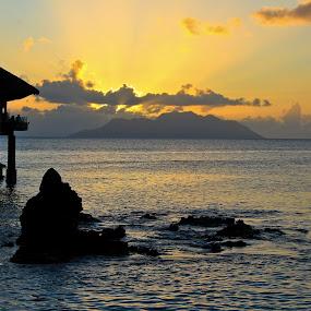 Tiki Bar by Jake Barrows - Landscapes Sunsets & Sunrises ( water, sunset, tiki, beach, bar )