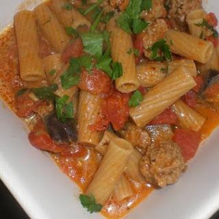Rigatoni With Sweet Italian Sausage, Eggplant and Tomato
