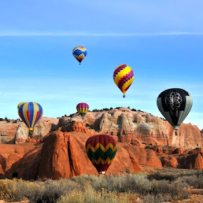 Red Rock Balloons by Lauren Ball - Novices Only Landscapes ( balloon fiesta, hot air balloon, gallup, balloons, rocks, new mexico,  )