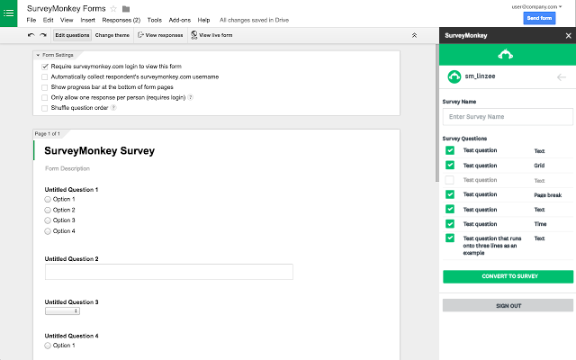 surveymonkey - google forms add-on