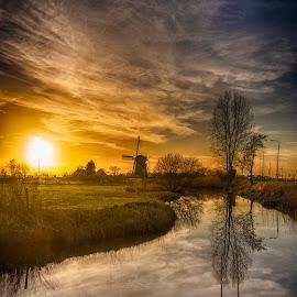 towards the windmill by Egon Zitter - Landscapes Sunsets & Sunrises ( etten-leur, sunset, dutch, windmill )