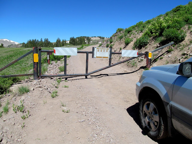 Locked gate on the way to Mount Belknap