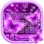 Neon Purple Butterfly Keyboard Theme Icon