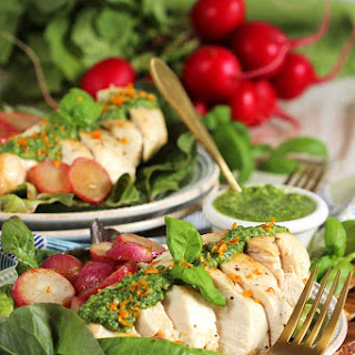 Olive Oil Poached Chicken and Radishes with Citrus Pesto.