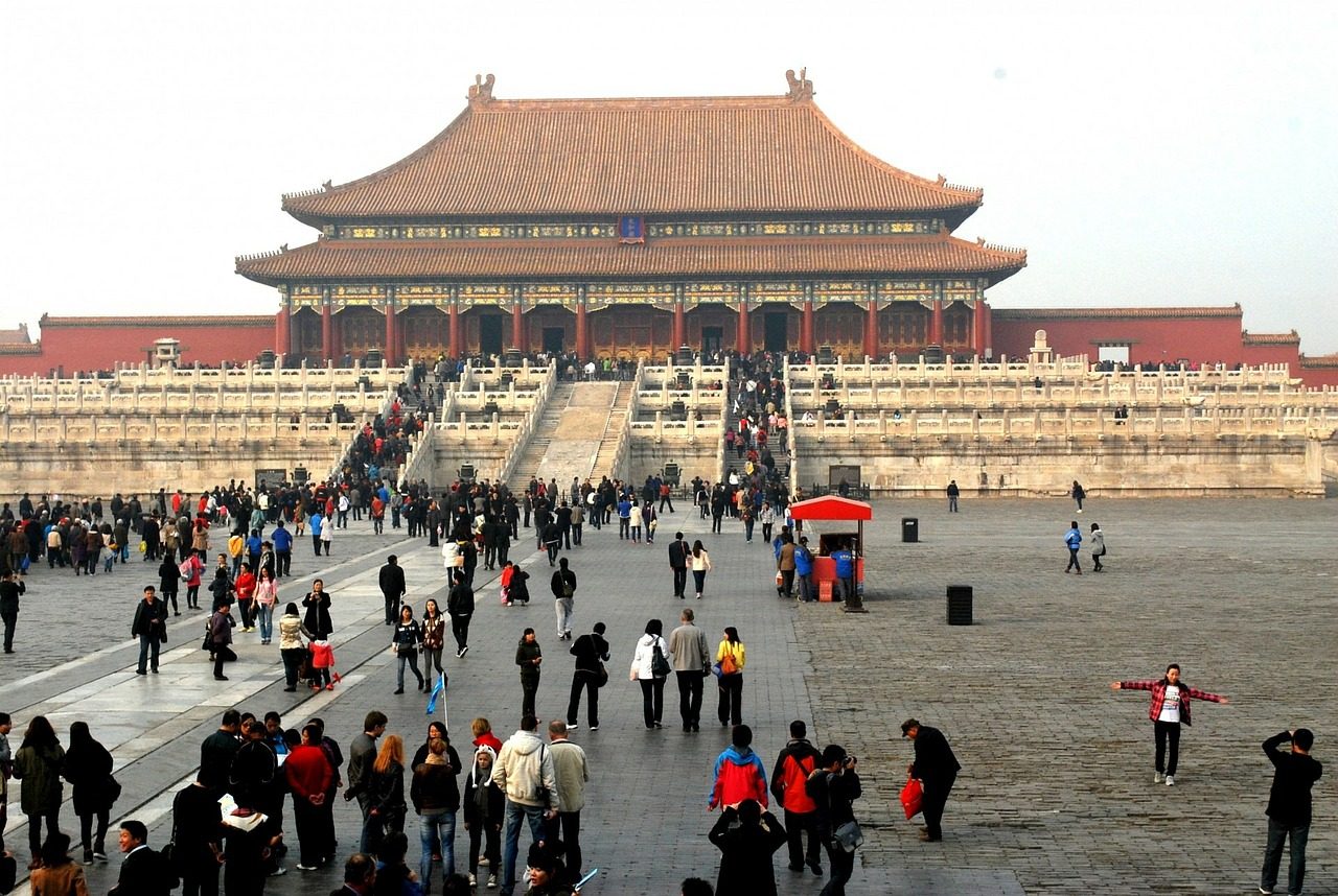 The Forbidden City bustling with tourists.