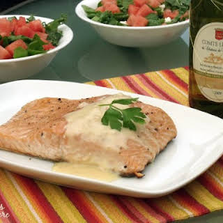 Grilled Salmon with Beurre Blanc.