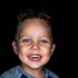 Baby blue by Nick-Nikola Mraovic - Babies & Children Child Portraits ( black, boy, blue eyes, child, smile,  )