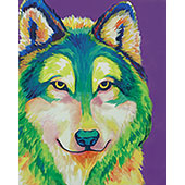 canvas painting design - Colorful Wolf