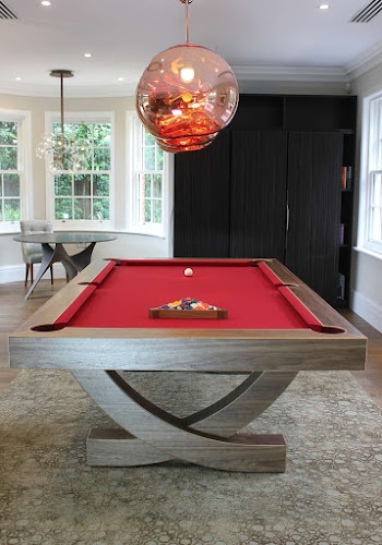 Curved Leg Pool Table in Walnut