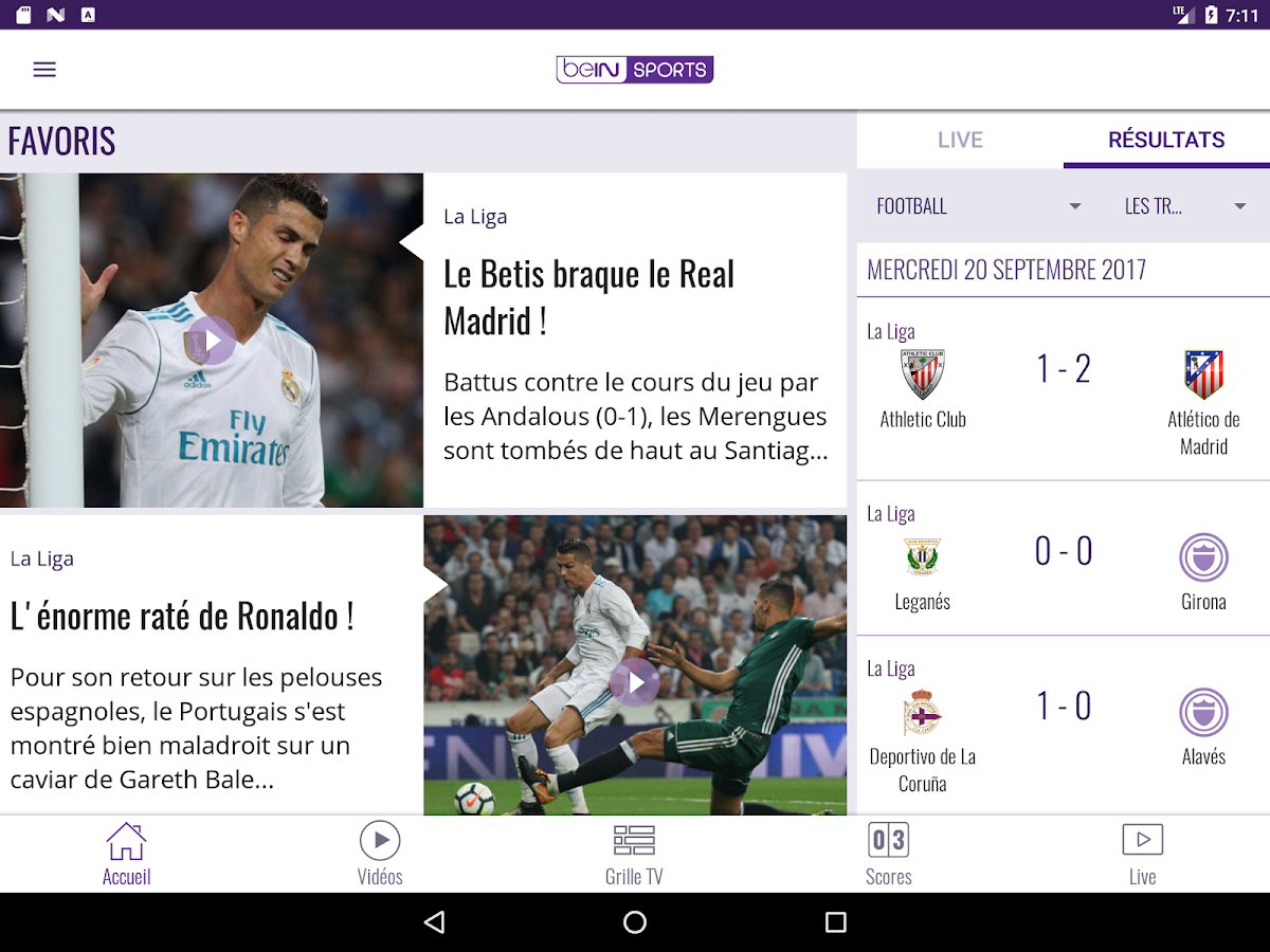 beIN SPORTS – Capture d'écran