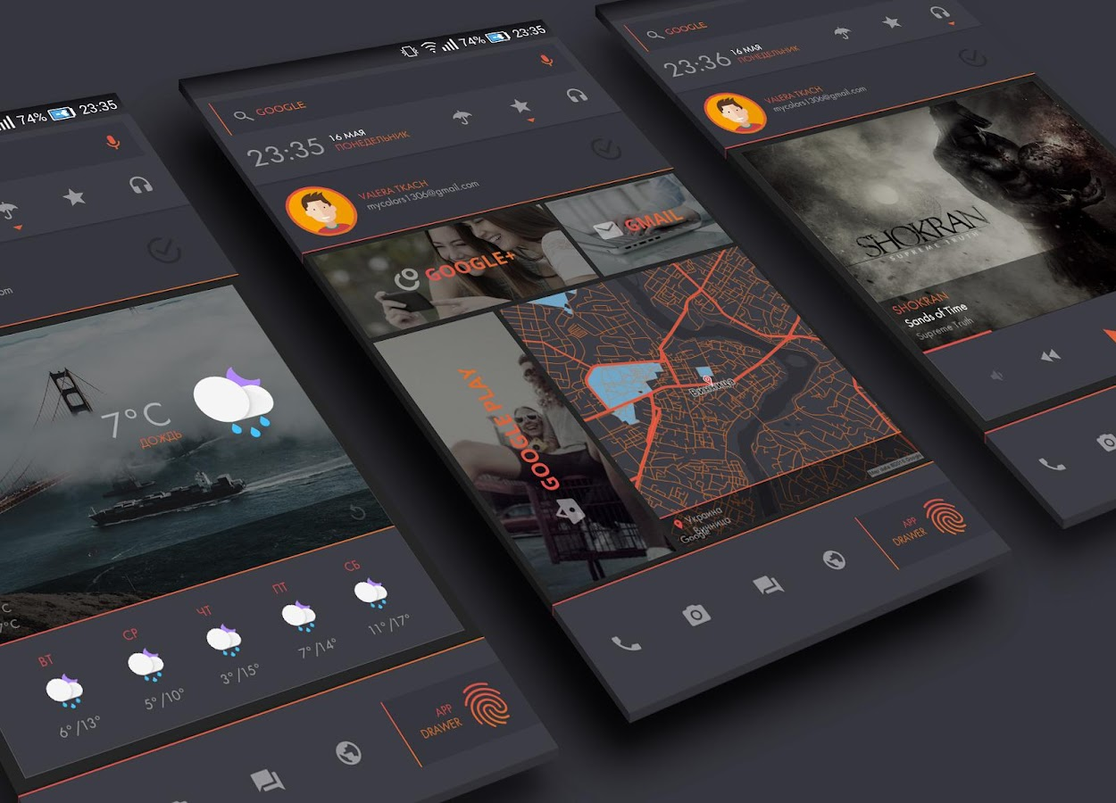 Darkdessert theme for klwp android apps on google play for Wallpaper home launcher