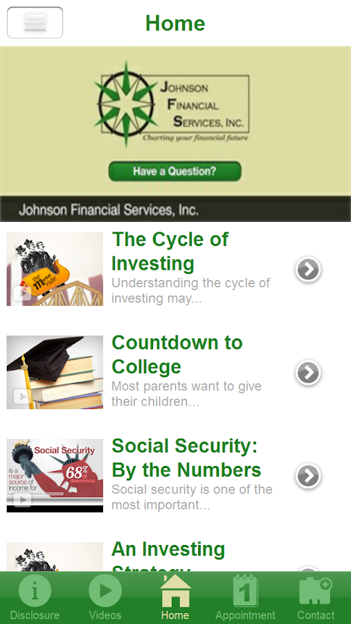 Johnson Financial Services- screenshot