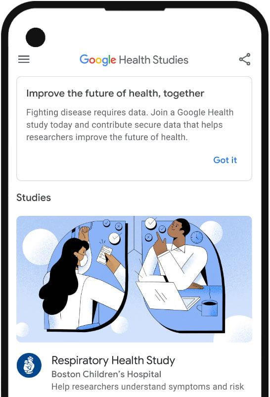 Google Health UI homepage