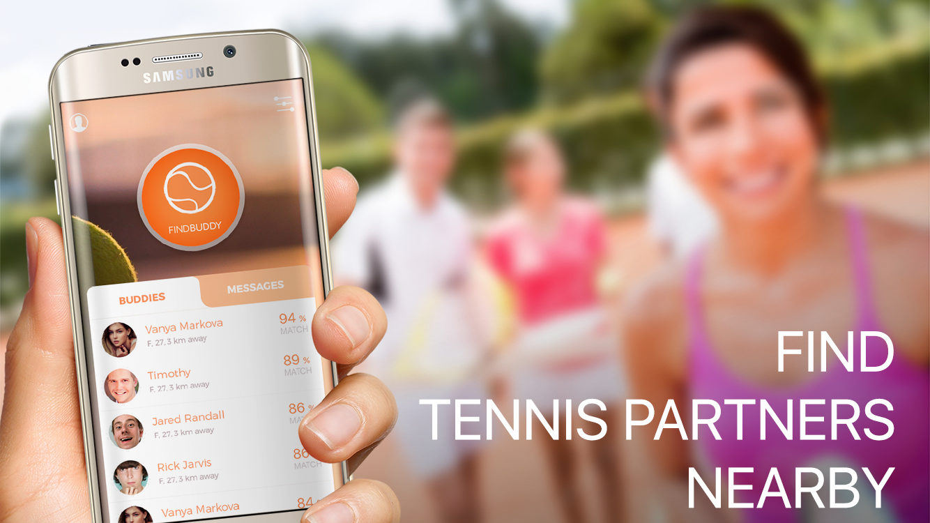 Find tennis players nearby- screenshot