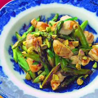 Wok-Seared Chicken Tenders with Asparagus & Pistachios.