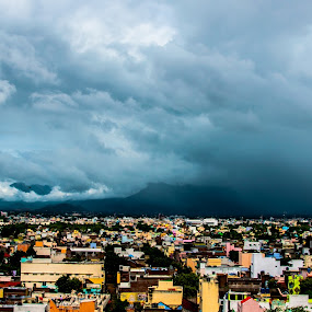 City And Mountains by Gowri Shankar - Landscapes Mountains & Hills ( clouds, hills, mountain, buildings.., city )