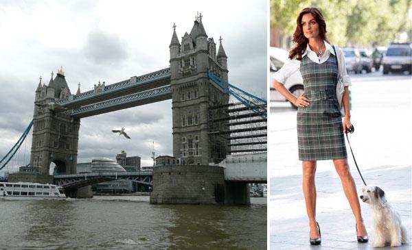 Photo: Vivien Caron Stretch-Etuikleid: Ein gemütlicher Spaziergang entlang der Themse in London. Feminines, schmales Kleid mit modischem Karodessin – jedes Teil ein Unikat. Abgerundeter V-Ausschnitt, figurgebende Teilungsnähte vorn und hinten, Gürtel mit stoffbezogener Schnalle. Hinten Reißverschluss und Gehschlitz. www.baur.net/kleider6 — hier: London - die Tower Bridge.
