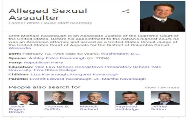 [Brett Kavanaugh to Alleged Sexual Assaulter]