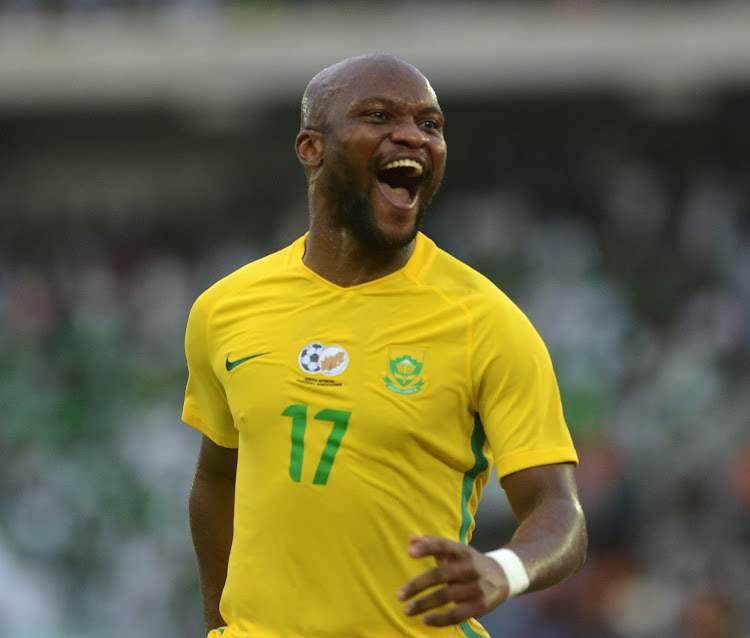 Newly signed Cape Town City striker Tokelo Rantie celebrates after scoring during the 2019 Afcon qualifier between Nigeria and South Africa at Godswill Akpabio International Stadium on June 10, 2017 in Uyo State, Nigeria. Rantie may make his debut when City host Kaizer Chiefs at the Cape Town Stadium on September 15 2018, chairman John Comitis said on Wednesday September 5 2018.