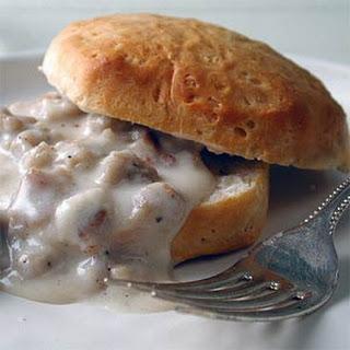 Biscuits and Vegetarian Sausage Gravy.